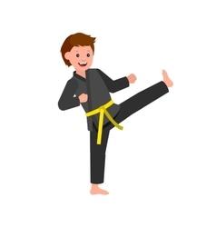 Cartoon kid wearing kimono martial art vector image vector image