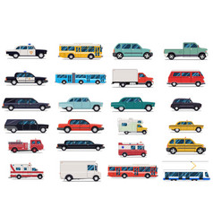 city transport set flat design vector image vector image