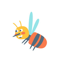 Cute cartoon honey bee colorful character vector