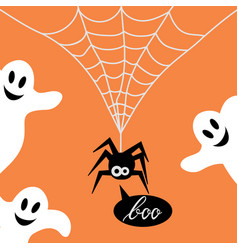 cute spider on a web and ghost vector image