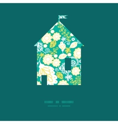 Emerald flowerals house silhouette pattern vector