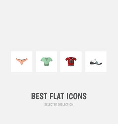Flat icon clothes set of t-shirt casual lingerie vector