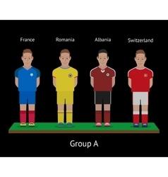 Football players Soccer teams France Romania vector image vector image