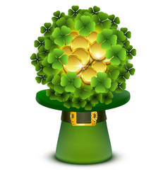 Green clover leaves and gold coins ball in top vector