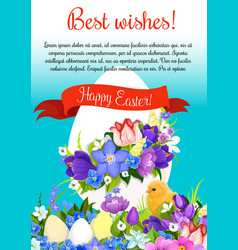 Happy easter paschal egg greeting poster vector