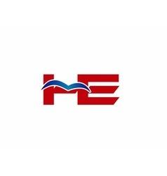 HE Logo Graphic Branding Letter Element vector image