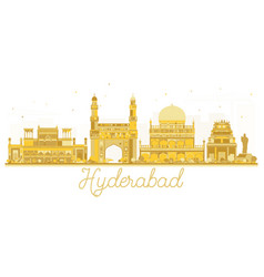 Hyderabad india city skyline golden silhouette vector