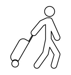 man with suitcase black color icon vector image vector image