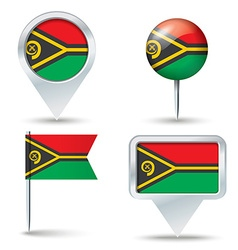 Map pins with flag of Vanuatu vector image vector image