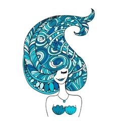 Mermaid portrait zentangle sketch for your design vector