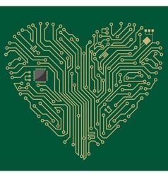 Motherboard computer heart vector image vector image