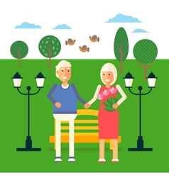 Pensioners characters in park vector