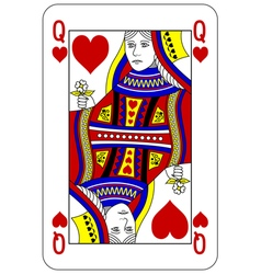 Poker playing card queen heart vector