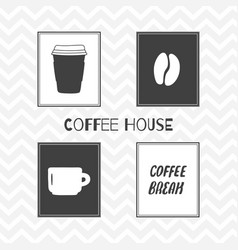 Set of hand drawn silhouettes coffee shop posters vector