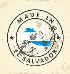 Stamp with map flag of el salvador vector