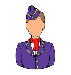 Stewardess icon in icon cartoon vector