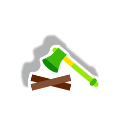 Stylish icon in paper sticker style wood and an ax vector