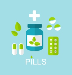 Tablets Pills Capsules Drugs and Leaves vector image vector image