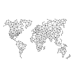 Triangle Polygonal Style World Map on White vector image vector image