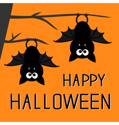 Two bats hanging on the tree happy halloween vector