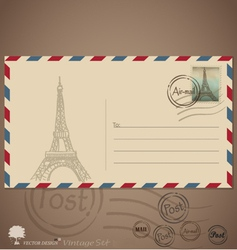 Vintage envelope designs with postage stamp vector image