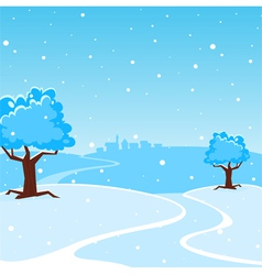 Winter cartoon landscape vector