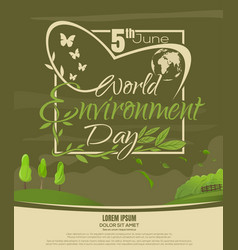 World environment day beautiful spring landscape vector