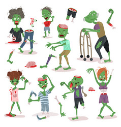 Zombie scary cartoon people character halloween vector