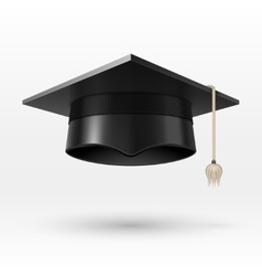 Academic graduation cap hat realistic vector