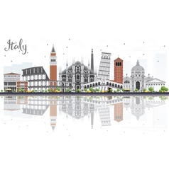 Italy skyline with landmarks and reflections vector