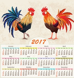 Vintage calendar for 2017 with colorful lovely two vector