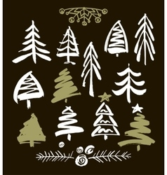 Hand drawn grunge christmas trees ink painting vector