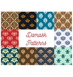 Vintage damask tracery seamless pattern background vector image