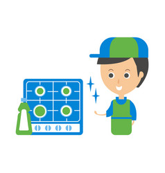 Cleanup service worker and clean stove cleaning vector