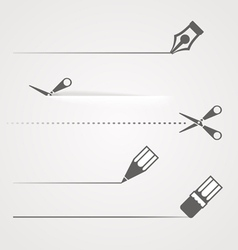 Dividers of scissors pen and crayon vector