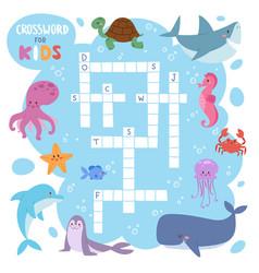 kids magazine book puzzle game of sea underwater vector image