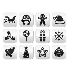 Christmas celebration winter buttons set vector