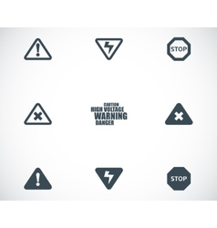 Black danger icons set vector