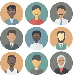 Icons set of persons male different ethnic vector