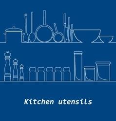 Kitchen mono line kitchen tools silhouette vector