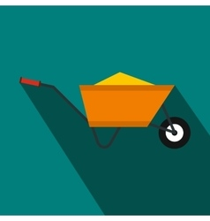 Wheelbarrow with sand icon flat style vector