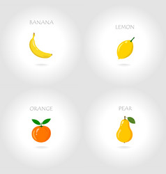 banana lemon orange pear set vector image
