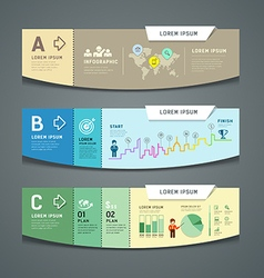 Banners colorful paper cut nfographic design vector