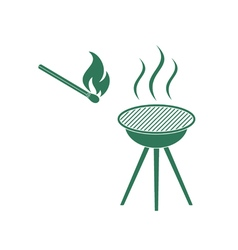 Barbecue and matches icon vector