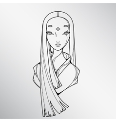 Black and white beautiful japan girl vector
