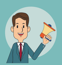 Businessman megaphone digital marketing vector