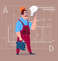 Cartoon builder with light bulb wearing uniform vector