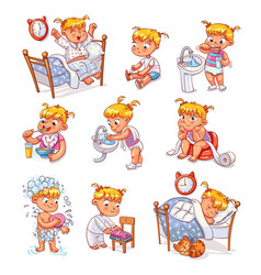 Cartoon kid daily routine activities set vector