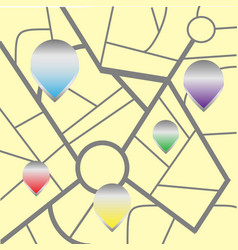city navigation map with pins vector image