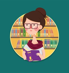 College girl student studying in library vector